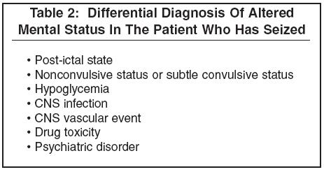 differential diagnosis of altered mental status in the patient who has  seized emergency medicine practice]_1, Skeleton