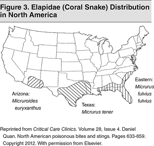 Figure 3. Elapidae (Coral Snake) Distribution in North America
