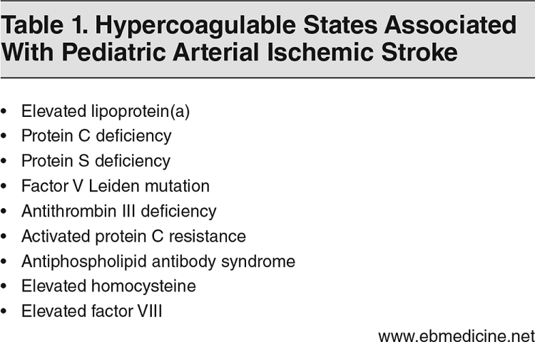 Table 1. Hypercoagulable States Associated With Pediatric Arterial Ischemic Stroke