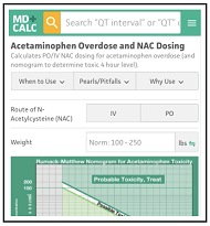 Acetaminophen Overdose and N-Acetylcysteine (NAC) Dosing