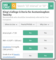 King's College Criteria for Acetaminophen Toxicity