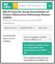 DECAF Score for Acute Exacerbation of Chronic Obstructive Pulmonary Disease (COPD)