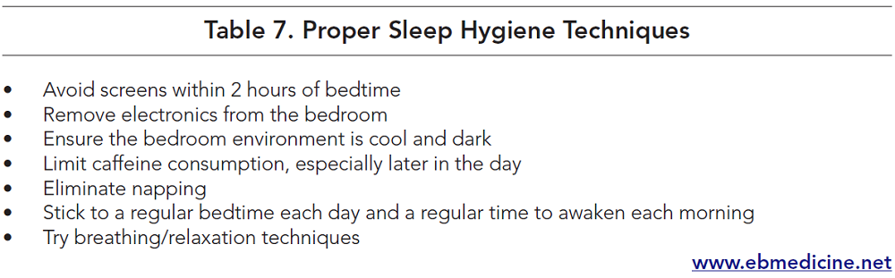 Table 7. Proper Sleep Hygiene Techniques