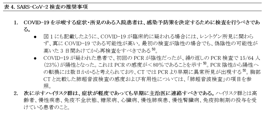 Japanese Table 4. Recommendations for SARS-CoV-2 Testing