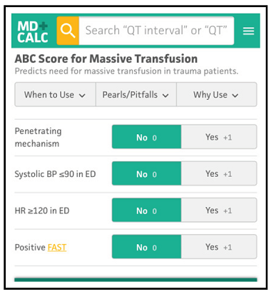 ABC Score for Massive Transfusion