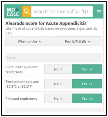 Alvarado Score for Acute Appendicitis