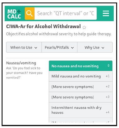 CIWA-Ar for Alcohol Withdrawal