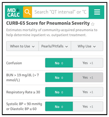 CURB-65 Score for Pneumonia Severity