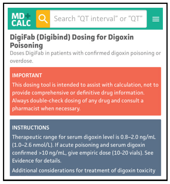 DigiFab (Digibind) Dosing for Digoxin Poisoning