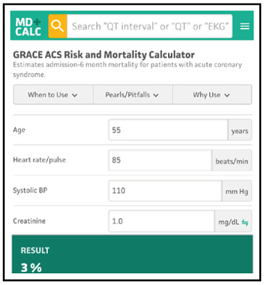 GRACE ACS Risk and Mortality Calculator