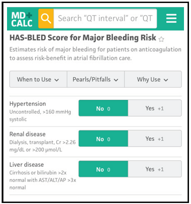 HAS-BLED Score for Major Bleeding Risk