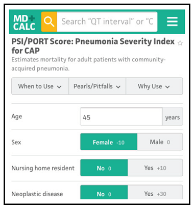 PSI/PORT Score: Pneumonia Severity Index for Community-Acquired Pneumonia