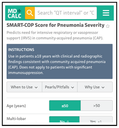 SMART-COP Score for Pneumonia Severity