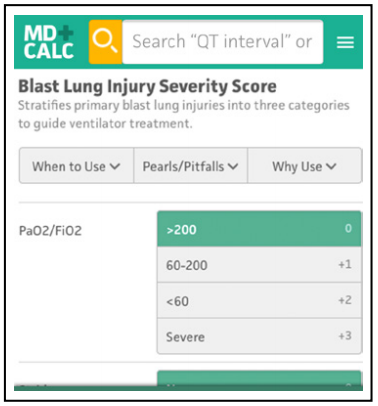 Blast Lung Injury Severity Score - Emergency Department Evaluation And Management Of Blunt Chest And Lung Trauma - Calculated Decisions - Trauma CME