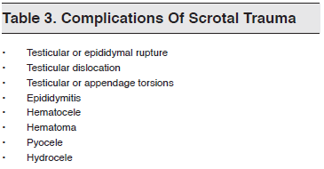 Table 3. Complications Of Scrotal Trauma