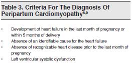 Table 3. Criteria For The Diagnosis Of Peripartum Cardiomyopathy