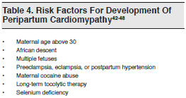 Table 4. Risk Factors For Development Of Peripartum Cardiomypathy