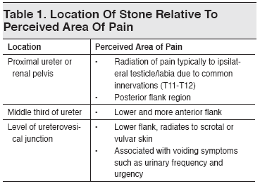 Table 1. Location Of Stone Relative To Perceived Area Of Pain