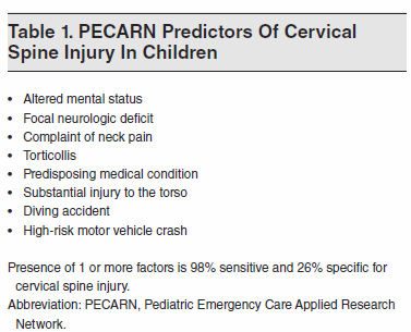 Table 1. PECARN Predictors Of Cervical Spine Injury in 