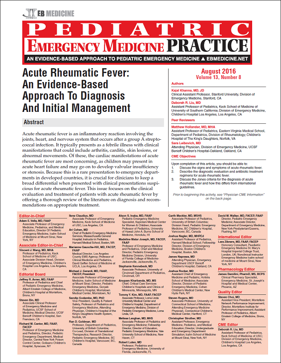 Acute Rheumatic Fever: An Evidence-Based Approach To Diagnosis And Initial Management