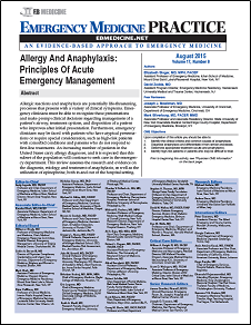 Allergy And Anaphylaxis: Principles Of Acute Emergency Management
