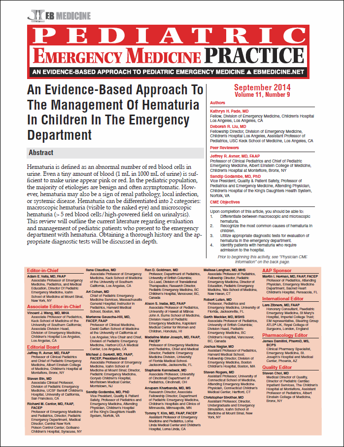 An Evidence-Based Approach To The Management Of Hematuria In Children In The Emergency Department