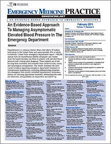An Evidence-Based Approach To Managing Asymptomatic Elevated Blood Pressure In The Emergency Department