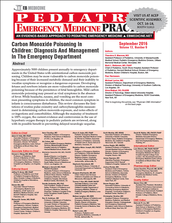 Carbon Monoxide Poisoning In Children - Diagnosis And Management In The Emergency Department, evidence-based CME