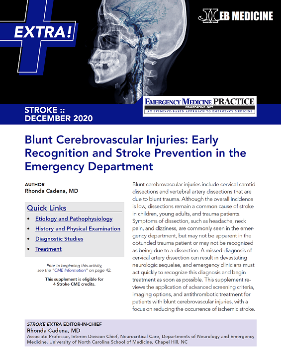 Blunt Cerebrovascular Injuries: Early Recognition and Stroke Prevention in the Emergency Department - Stroke EXTRA Supplement (Stroke CME)