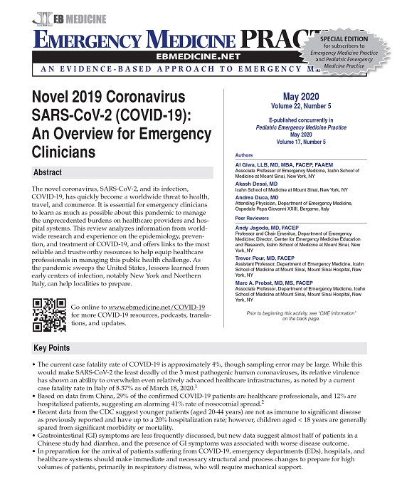 CME for COVID-19 article: An Updated Overview for Emergency Clinicians