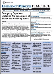 Emergency Department Evaluation And Management Of Blunt Chest And Lung Trauma (Trauma CME), Emergency Medicine Practice evidence-based CME