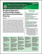 Emergency Department Treatment Of Beta Blocker And Calcium-Channel Blocker Poisoning