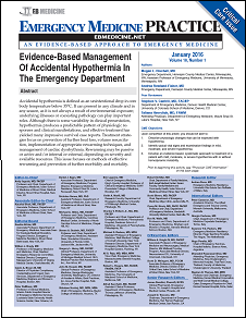 Evidence-Based Management Of Accidental Hypothermia In The Emergency Department
