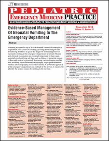 Evidence-Based Management Of Neonatal Vomiting In The Emergency Department
