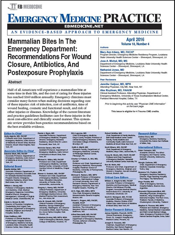 Full - Mammalian Bites In The Emergency Department Recommendations For Wound Closure, Antibiotics, And Postexposure Prophylaxis
