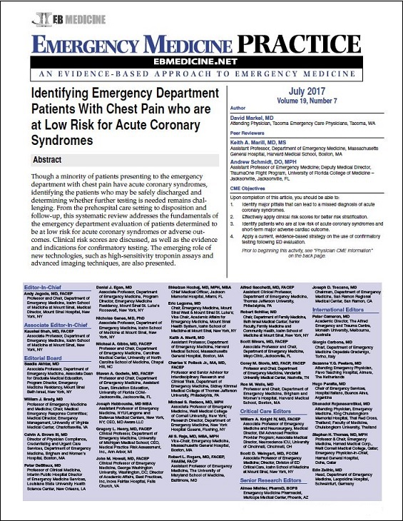 Identifying Emergency Department Patients With Chest Pain who are at Low Risk for Acute Coronary Syndromes