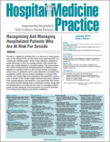 Recognizing And Managing Hospitalized Patients Who Are At Risk For Suicide