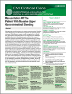 Resuscitation Of The Patient With Massive Upper Gastrointestinal Bleeding