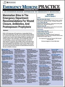 Thumbnail - Mammalian Bites In The Emergency Department Recommendations For Wound Closure, Antibiotics, And Postexposure Prophylaxis
