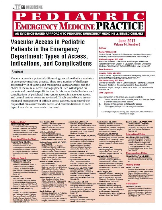 Vascular Access in Pediatric Patients in the Emergency Department: Types of Access, Indications, and Complications