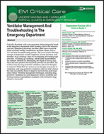 Ventilator Management And Troubleshooting In The Emergency Department