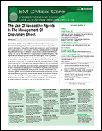 The Use Of Vasoactive Agents In The Management Of Circulatory Shock