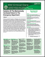 Sedation Of The Mechanically Ventilated Patient In The Emergency Department